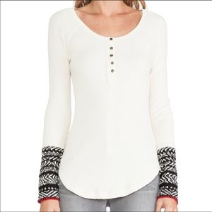 Free people newbie thermal crochet cuff ribbed